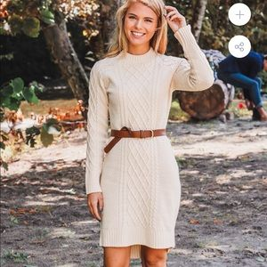 Autumn knit sweater dress.